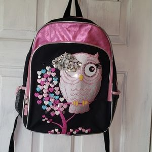 Other - ☆ cute pink n black sparkly owl back pack